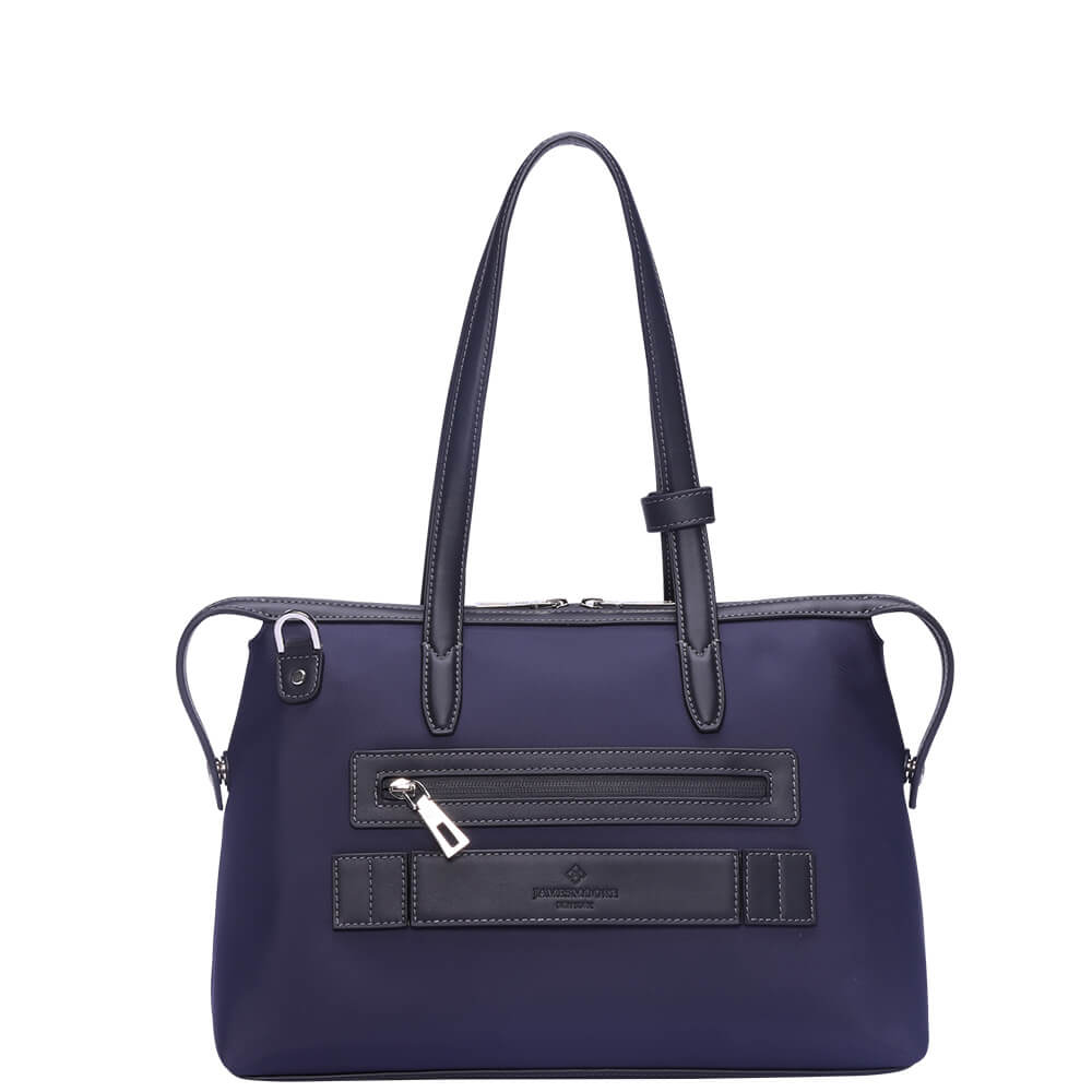 The Small Kyoto Zip Tote Bag in Blue Nylon and Black Leather_Back