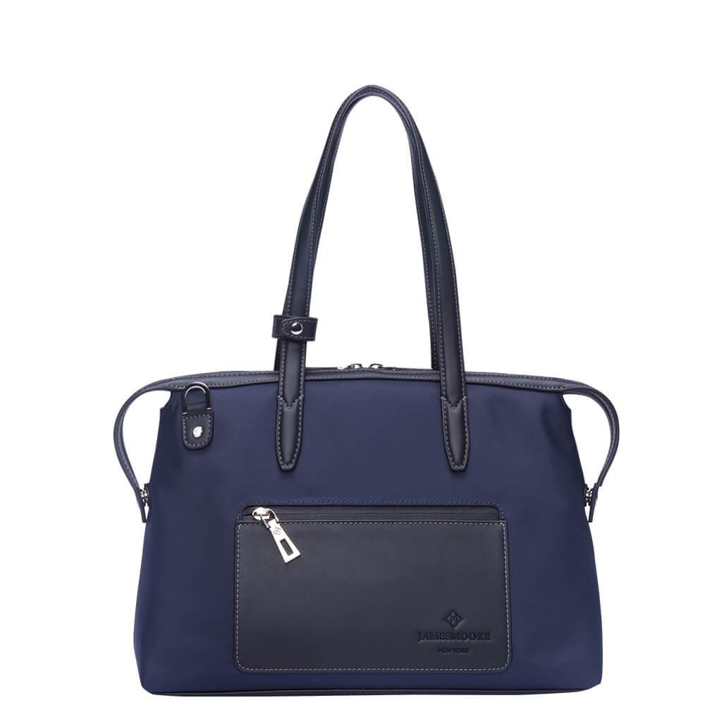 青色のナイロンおよび黒いLeather_Frontの小さい京都Zipトートバッグ