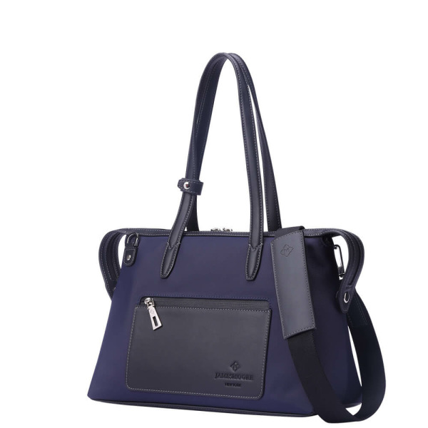 The Small Kyoto Zip Tote Bag in Blue Nylon and Black Leather_Side