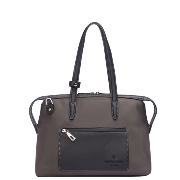 The Small Kyoto Zip Tote Bag in Brown Nylon and Black Leather_Front 1