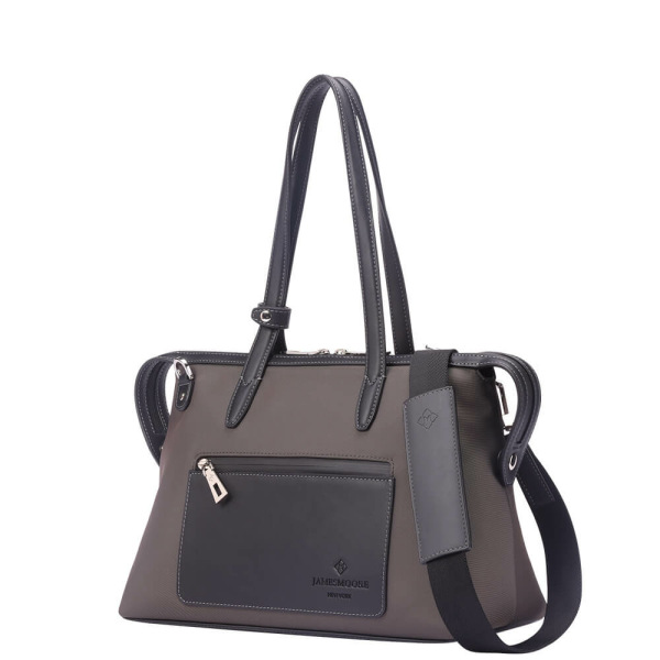 The Small Kyoto Zip Tote Bag in Brown Nylon and Black Leather_Side