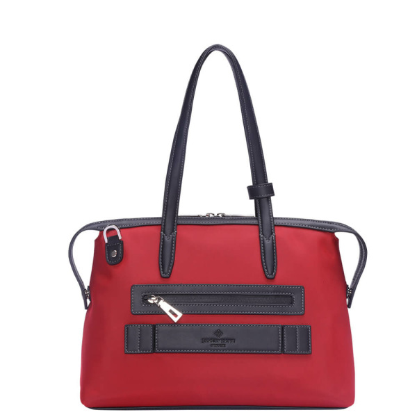The Small Kyoto Zip Tote Bag in Red Nylon and Black Leather_Back 2
