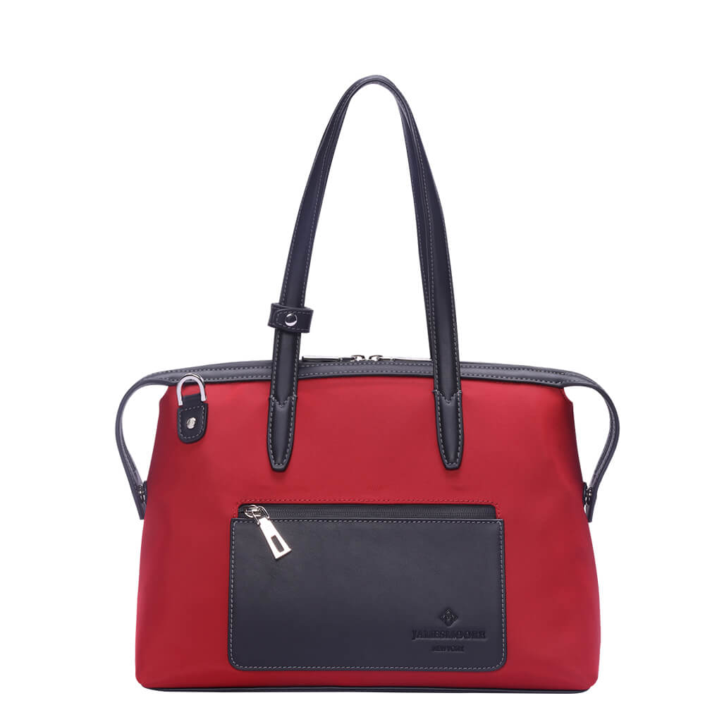 The Small Kyoto Zip Tote Bag in Red Nylon and Black Leather_Front 2