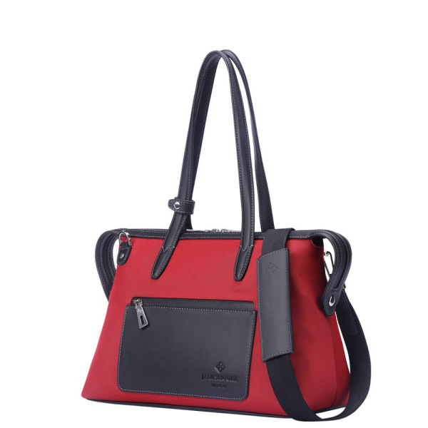 The Small Kyoto Zip Tote Bag in Red Nylon and Black Leather_Side 2