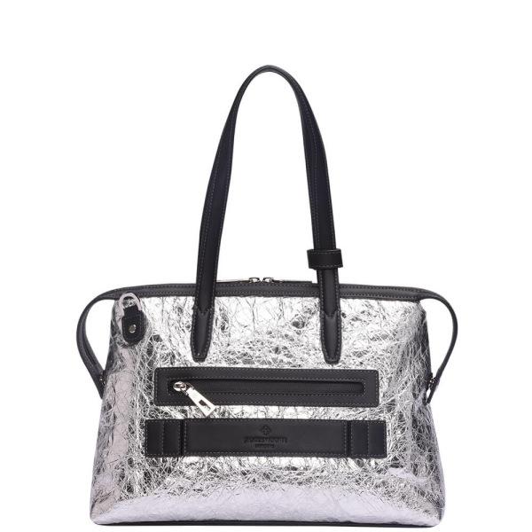 銀のナイロンおよび黒い革後ろ1の小さい京都Zipトートバッグ