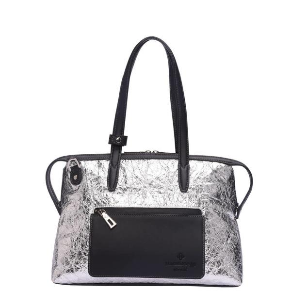 銀のナイロンおよび黒い革前1の小さい京都Zipトートバッグ