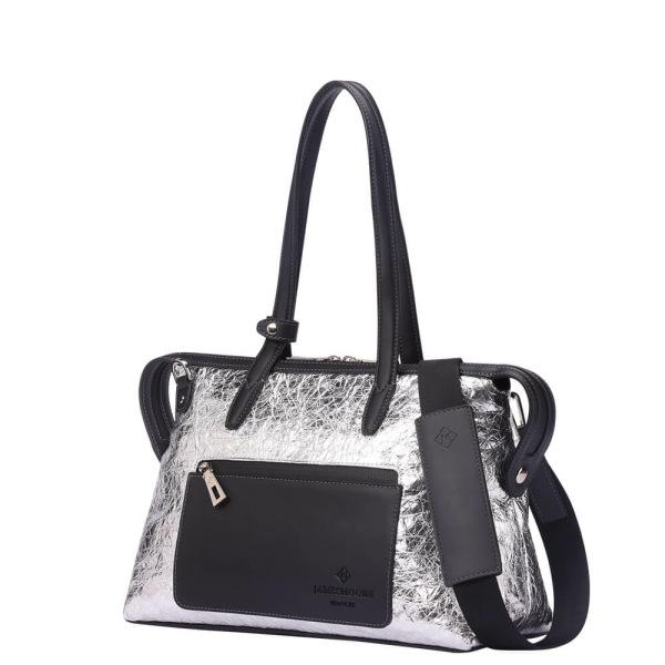 銀のナイロンおよび黒い革側の小さい京都Zipトートバッグ