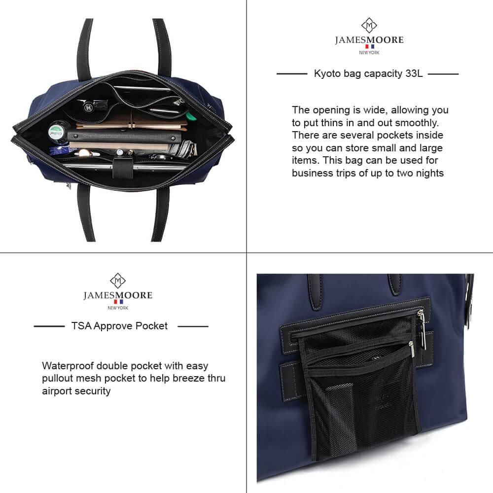 Kyoto unisex Travel Tote Bag Large Compacity & TSA Pocket